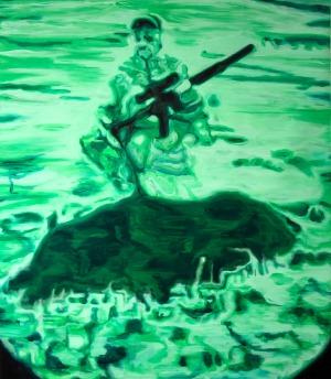Night Vision (Chasseur 2) - 2016 - 175 x 153 cm - huile sur toile